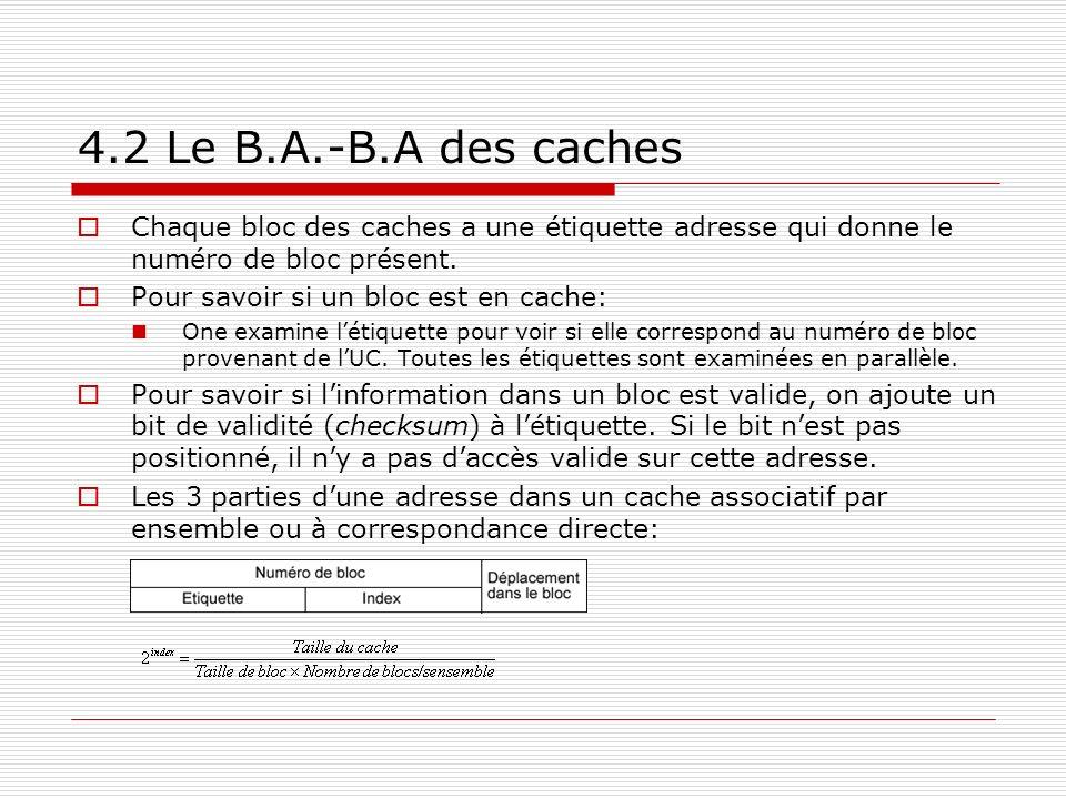 4.2 Le B.A.-B.A des caches Chaque bloc des caches a une étiquette adresse qui donne le numéro de bloc présent.