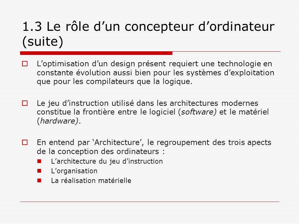 1.3 Le rôle d'un concepteur d'ordinateur (suite)