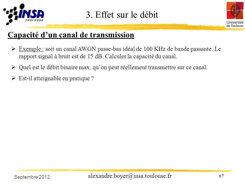 3. Effet sur le débit Capacité d'un canal de transmission