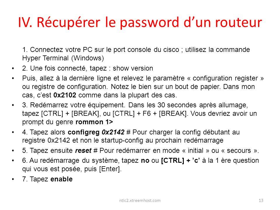 IV. Récupérer le password d'un routeur