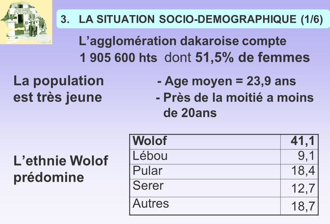 LA SITUATION SOCIO-DEMOGRAPHIQUE (1/6)