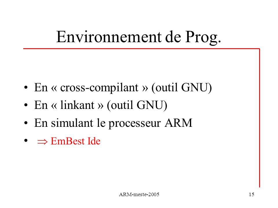 Environnement de Prog. En « cross-compilant » (outil GNU)