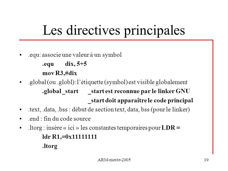 Les directives principales