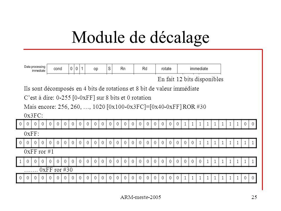 Module de décalage En fait 12 bits disponibles