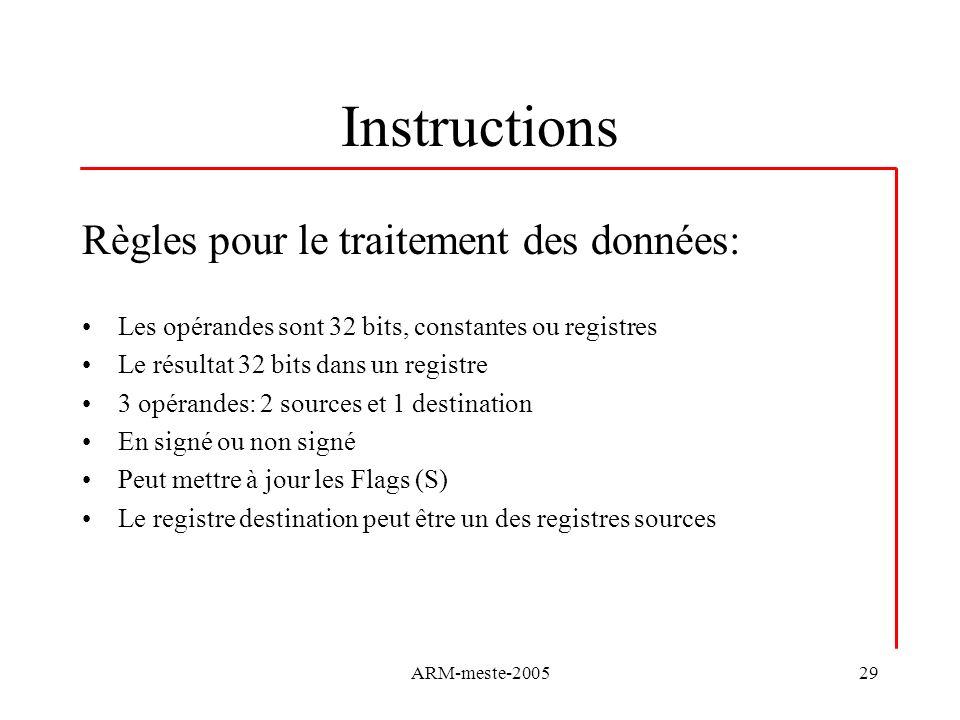 Instructions Règles pour le traitement des données: