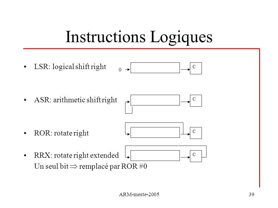 Instructions Logiques