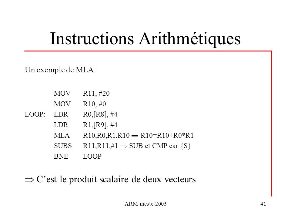 Instructions Arithmétiques