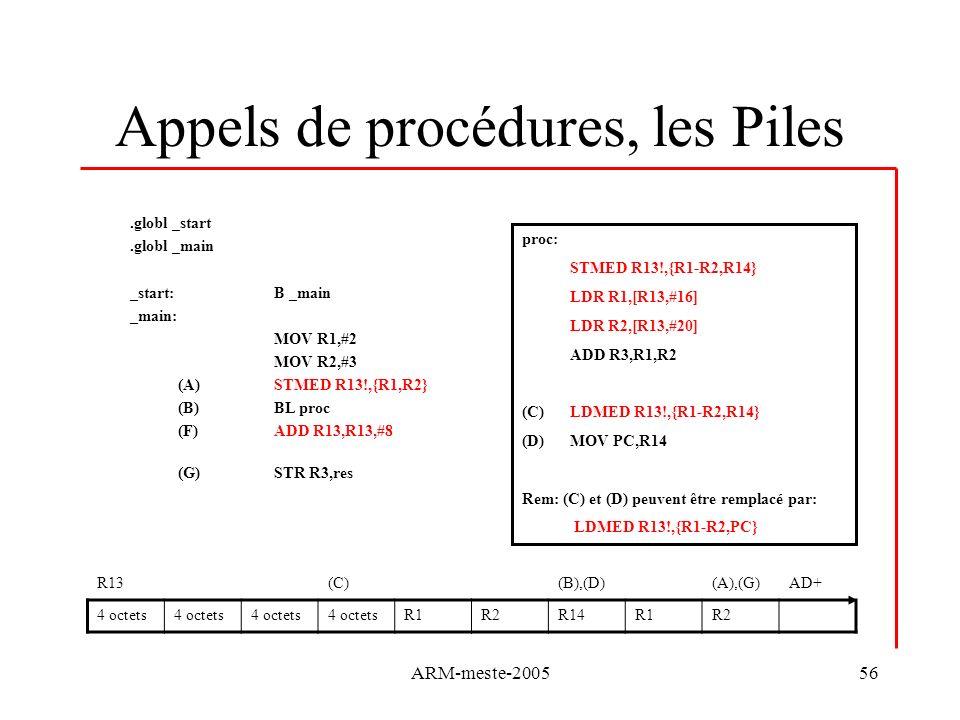 Appels de procédures, les Piles