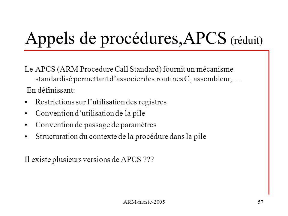 Appels de procédures,APCS (réduit)