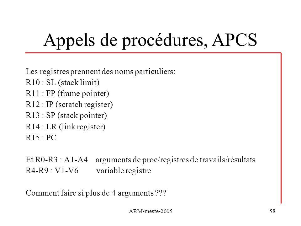 Appels de procédures, APCS