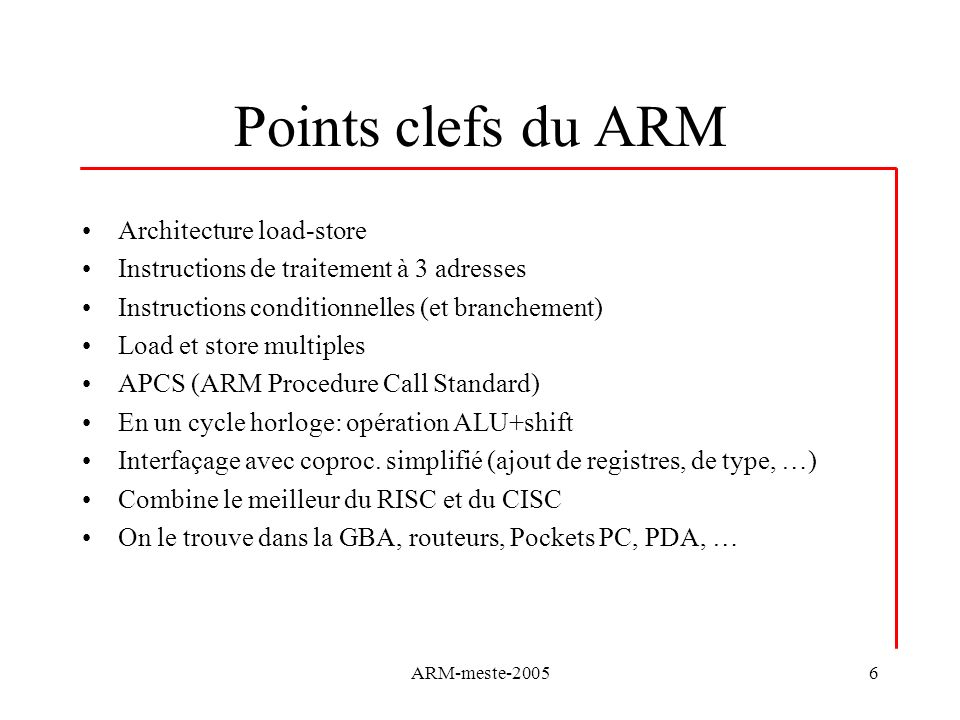 Points clefs du ARM Architecture load-store