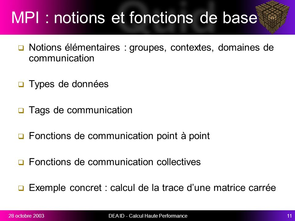 MPI : notions et fonctions de base