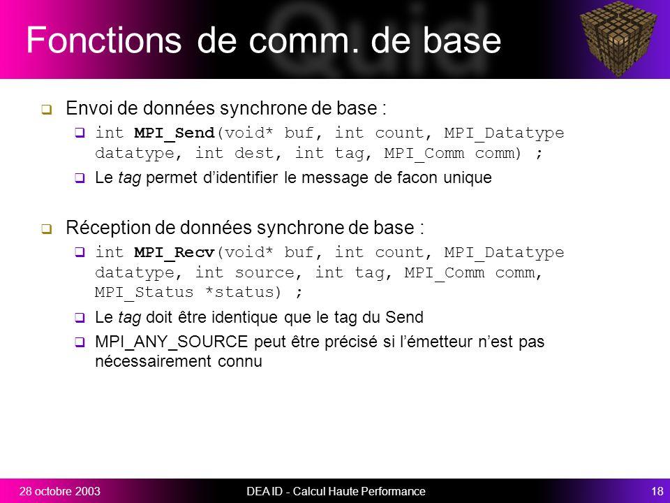 Fonctions de comm. de base
