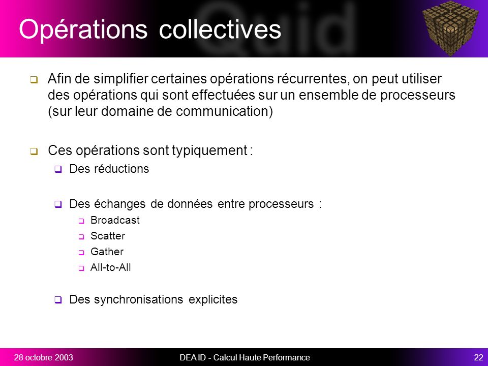 Opérations collectives