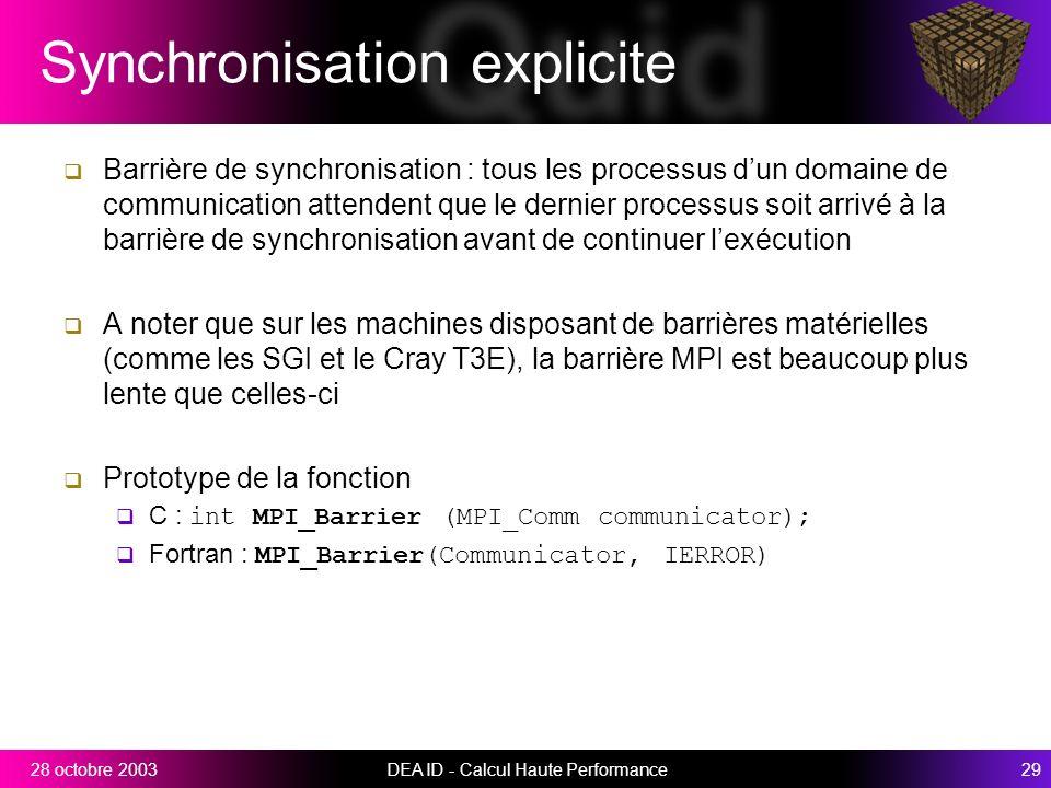 Synchronisation explicite