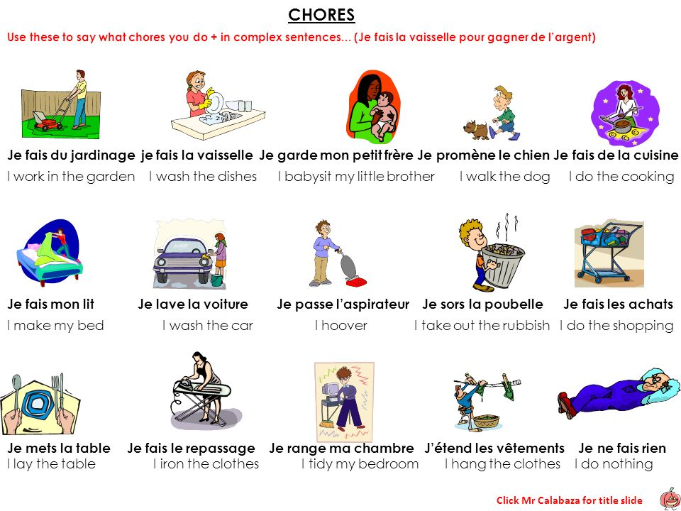 CHORES Use these to say what chores you do + in complex sentences... (Je fais la vaisselle pour gagner de l'argent)