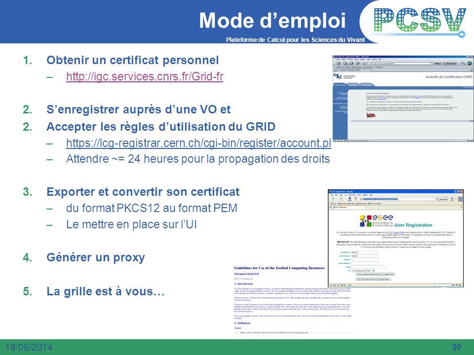 Mode d'emploi Obtenir un certificat personnel