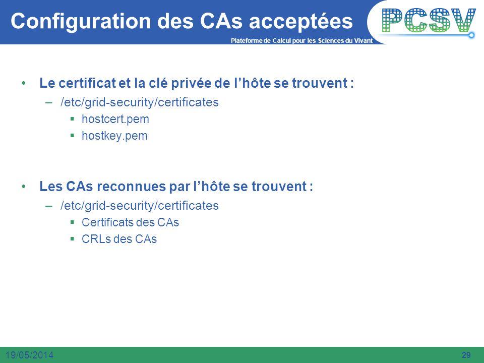Configuration des CAs acceptées