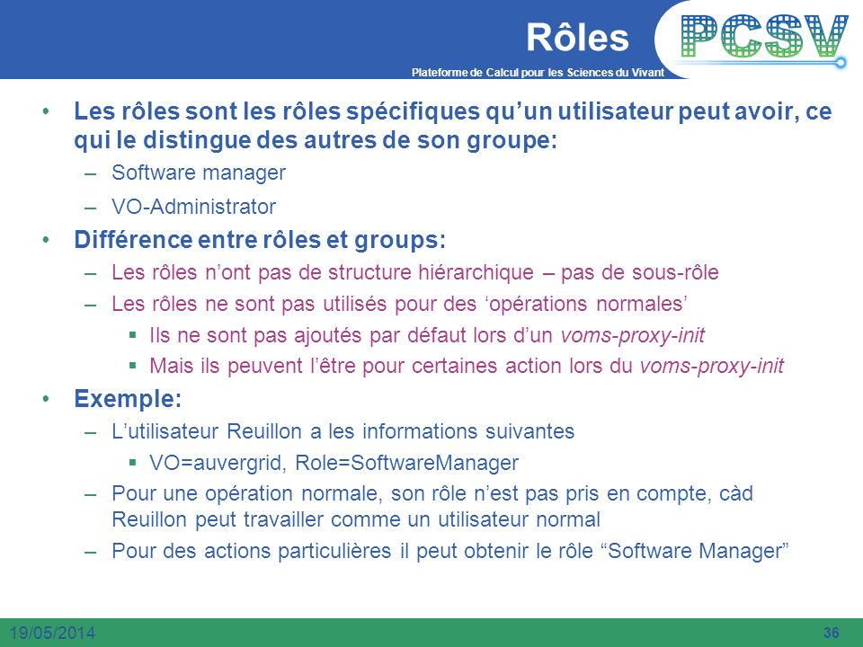 Rôles Les rôles sont les rôles spécifiques qu'un utilisateur peut avoir, ce qui le distingue des autres de son groupe: