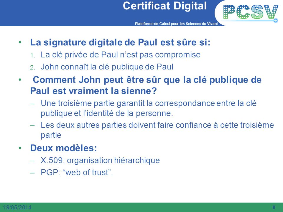 Certificat Digital La signature digitale de Paul est sûre si:
