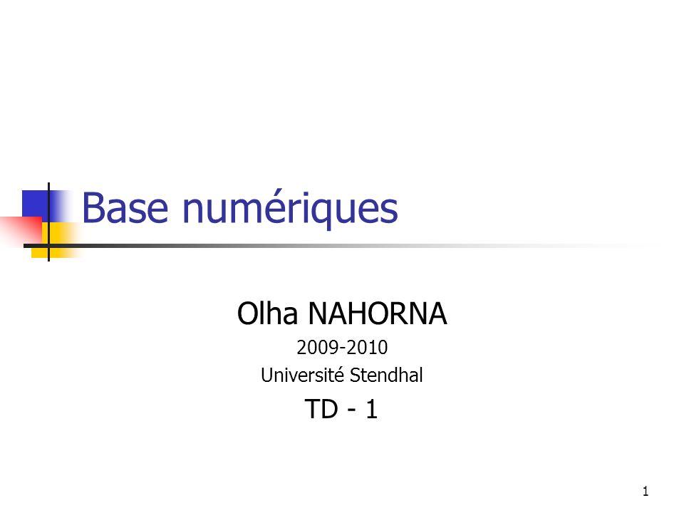 Olha NAHORNA 2009-2010 Université Stendhal TD - 1