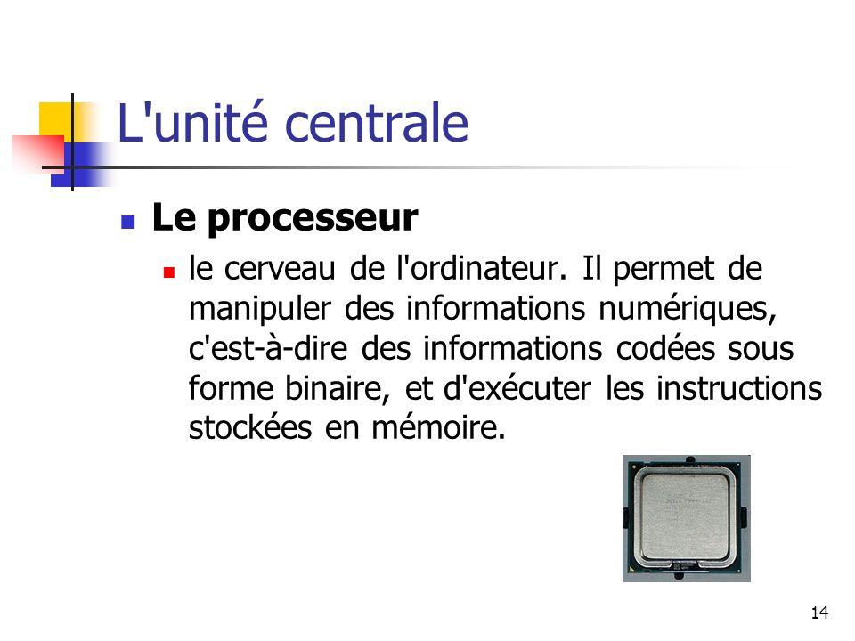 L unité centrale Le processeur