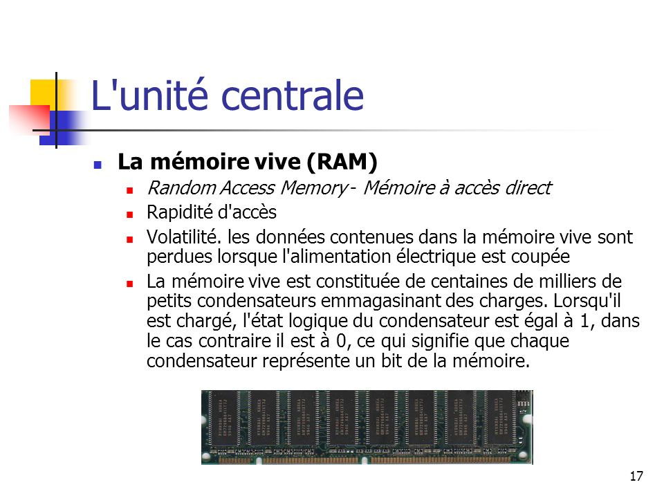 L unité centrale La mémoire vive (RAM)