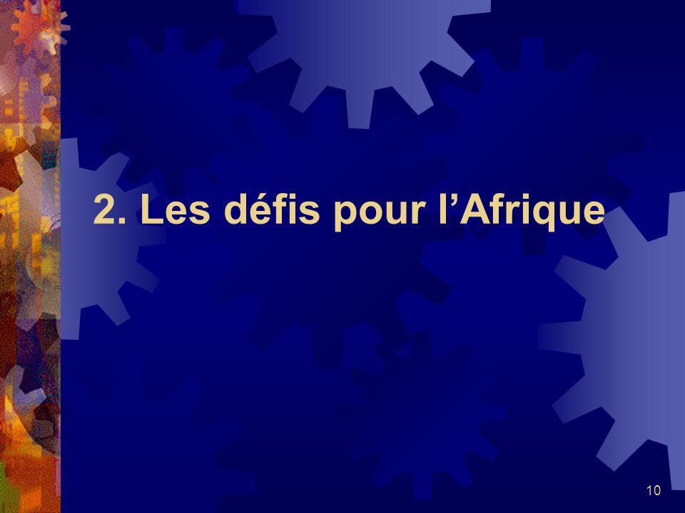 2. Les défis pour l'Afrique