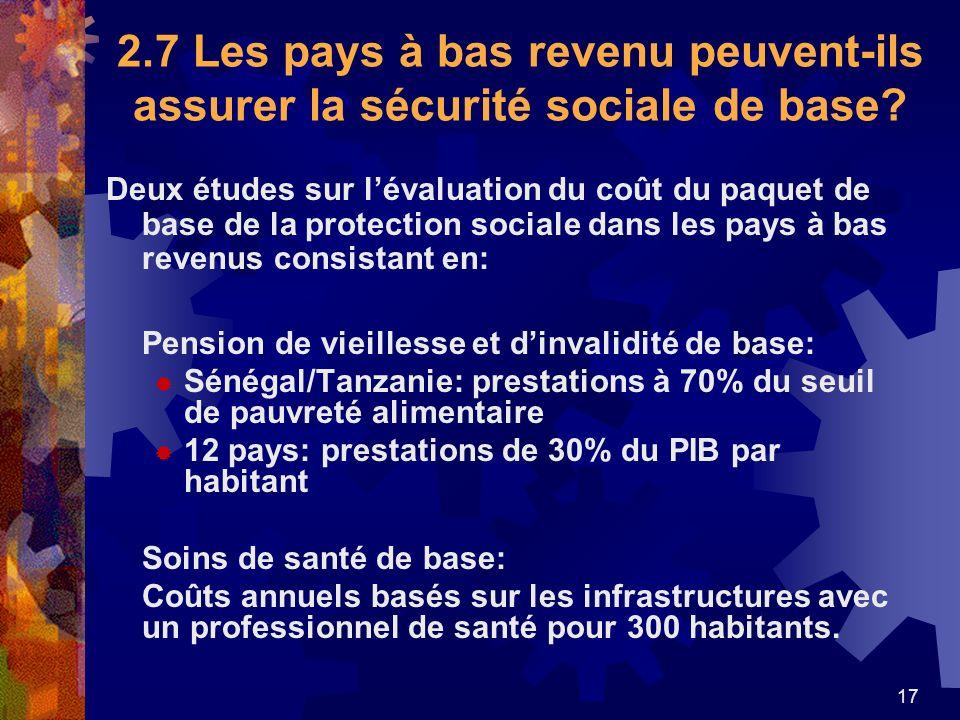 2.7 Les pays à bas revenu peuvent-ils assurer la sécurité sociale de base