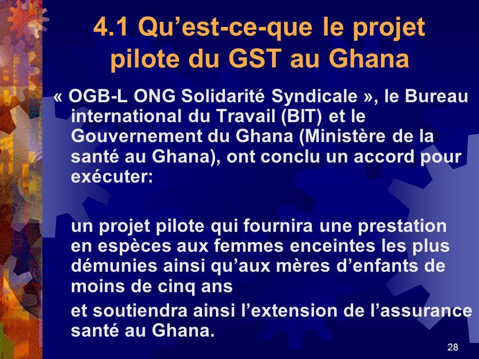 4.1 Qu'est-ce-que le projet pilote du GST au Ghana