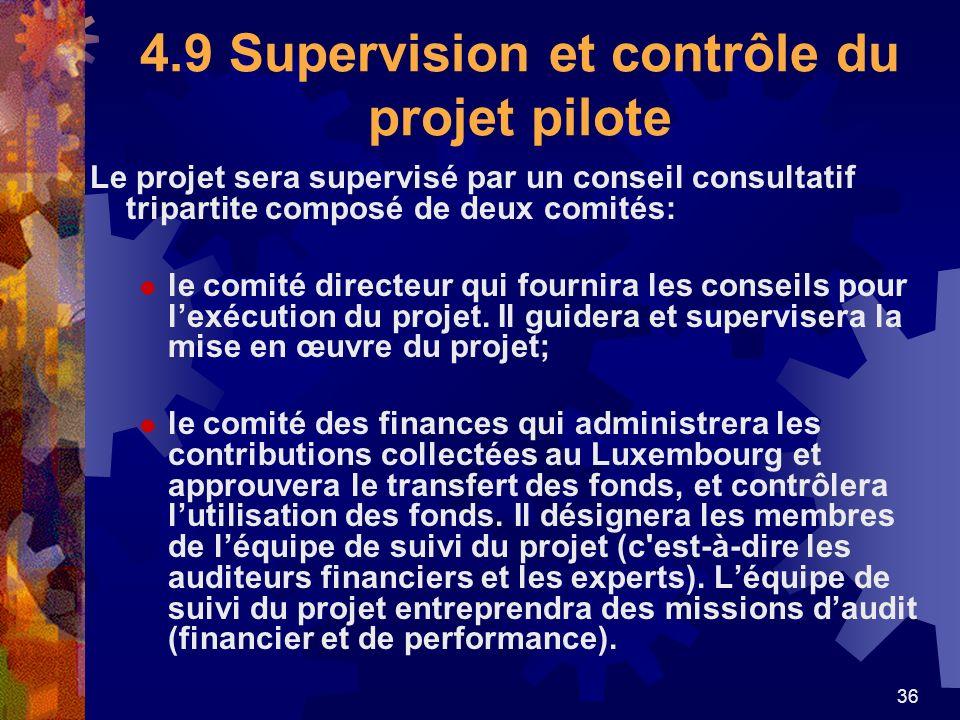 4.9 Supervision et contrôle du projet pilote