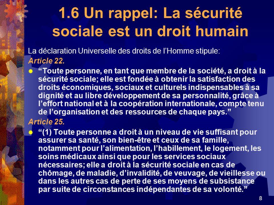 1.6 Un rappel: La sécurité sociale est un droit humain