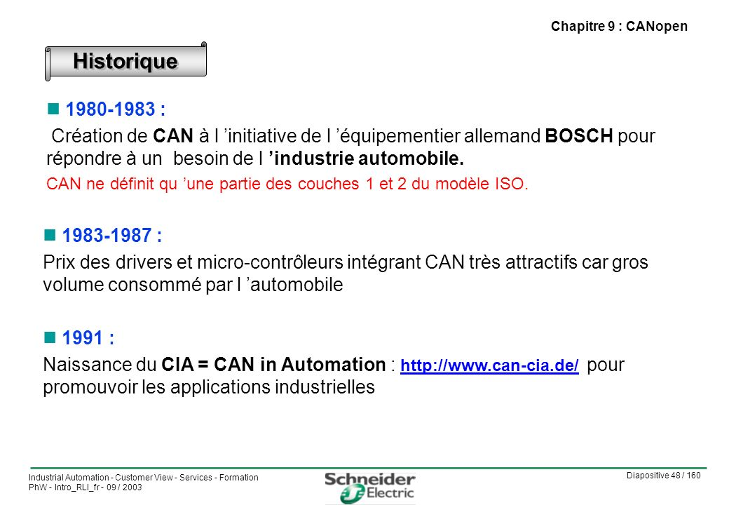 Chapitre 9 : CANopen Historique. 1980-1983 :