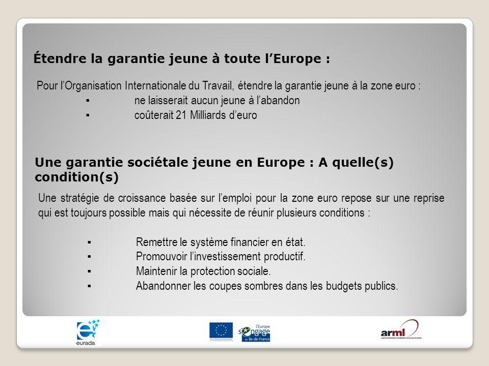 Étendre la garantie jeune à toute l'Europe :