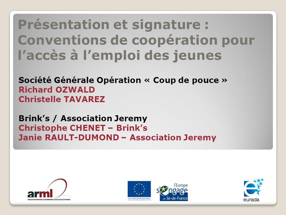 Présentation et signature : Conventions de coopération pour l'accès à l'emploi des jeunes