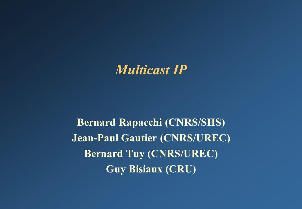 Multicast IP Bernard Rapacchi (CNRS/SHS) Jean-Paul Gautier (CNRS/UREC)