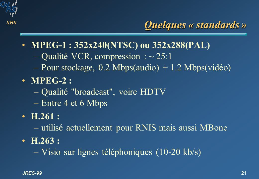 Quelques « standards » MPEG-1 : 352x240(NTSC) ou 352x288(PAL)