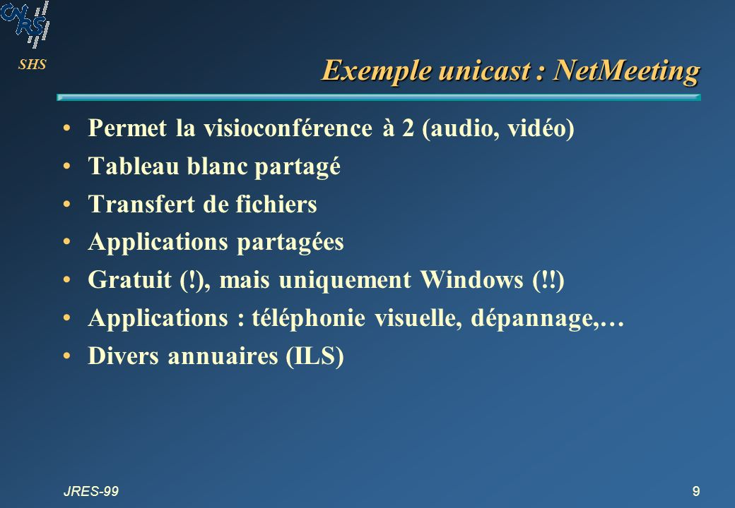 Exemple unicast : NetMeeting
