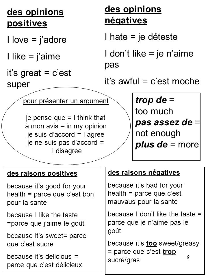 des opinions négatives I hate = je déteste