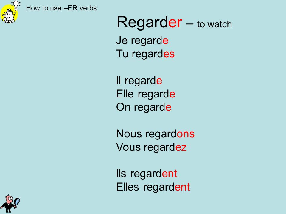 Regarder – to watch Je regarde Tu regardes Il regarde Elle regarde
