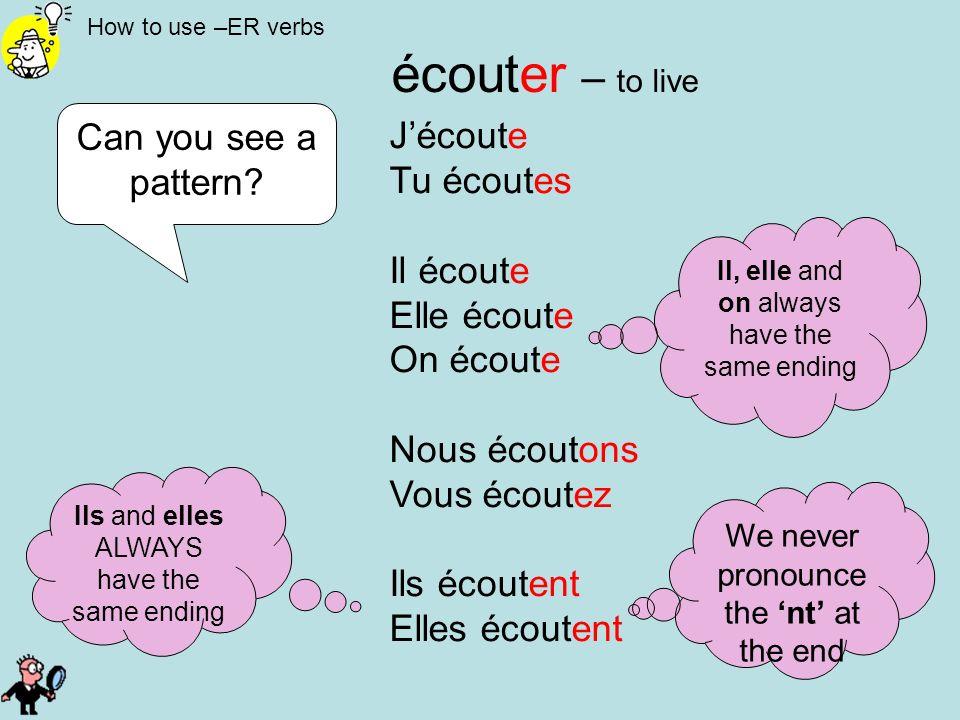 écouter – to live Can you see a pattern J'écoute Tu écoutes Il écoute