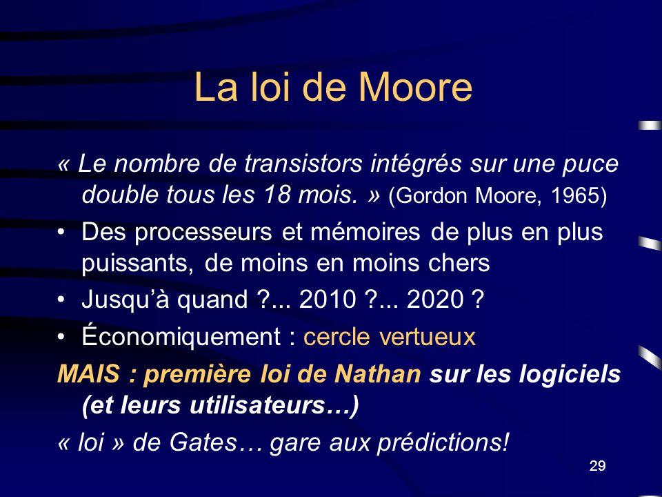 La loi de Moore « Le nombre de transistors intégrés sur une puce double tous les 18 mois. » (Gordon Moore, 1965)
