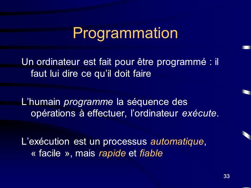 Programmation Un ordinateur est fait pour être programmé : il faut lui dire ce qu'il doit faire.