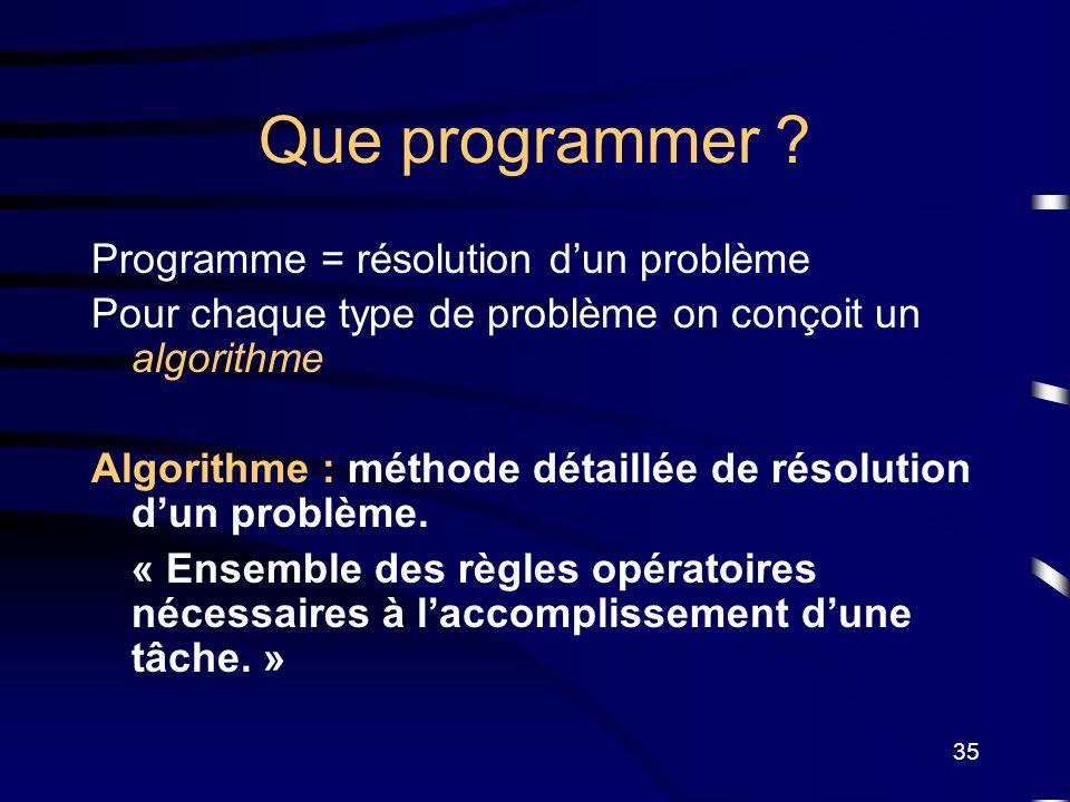 Que programmer Programme = résolution d'un problème