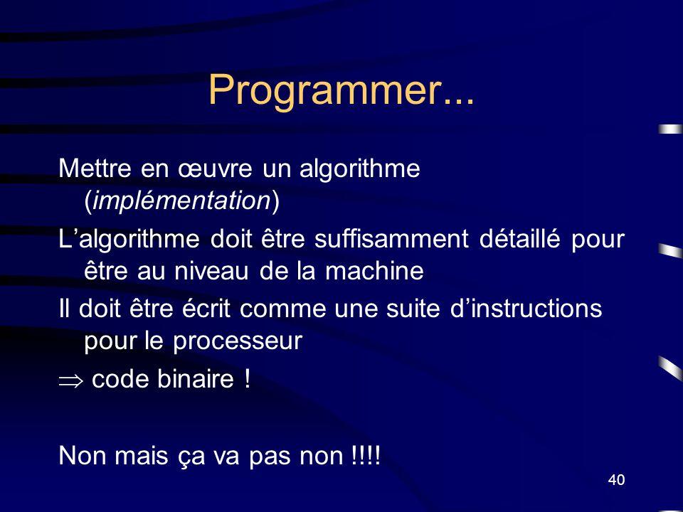 Programmer... Mettre en œuvre un algorithme (implémentation)