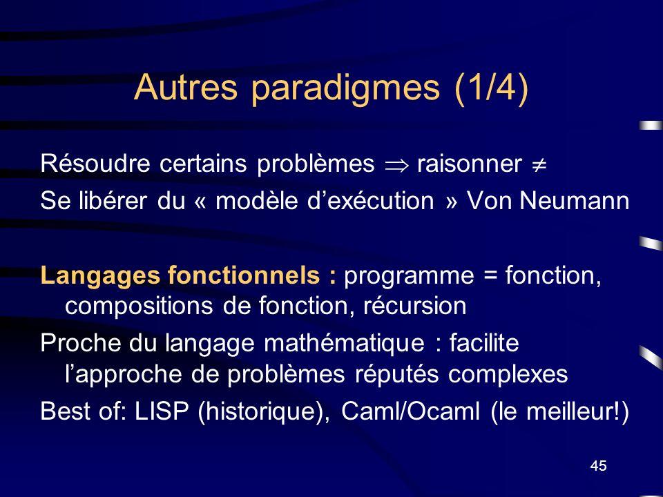 Autres paradigmes (1/4) Résoudre certains problèmes  raisonner 