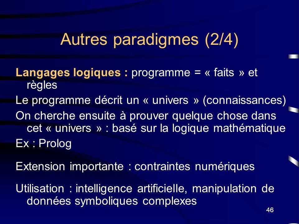 Autres paradigmes (2/4) Langages logiques : programme = « faits » et règles. Le programme décrit un « univers » (connaissances)