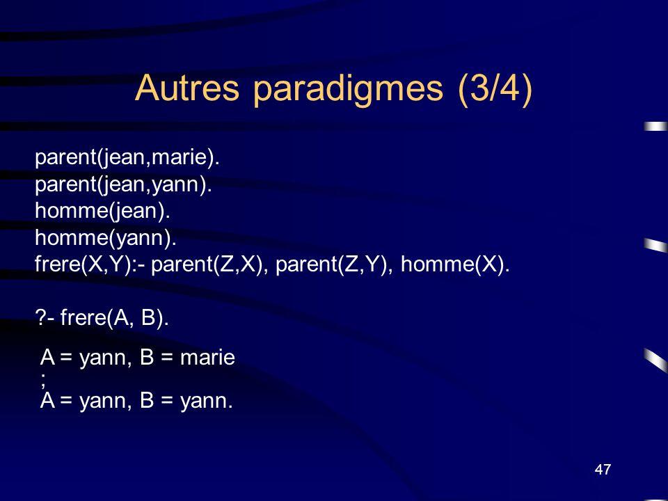 Autres paradigmes (3/4) parent(jean,marie). parent(jean,yann).