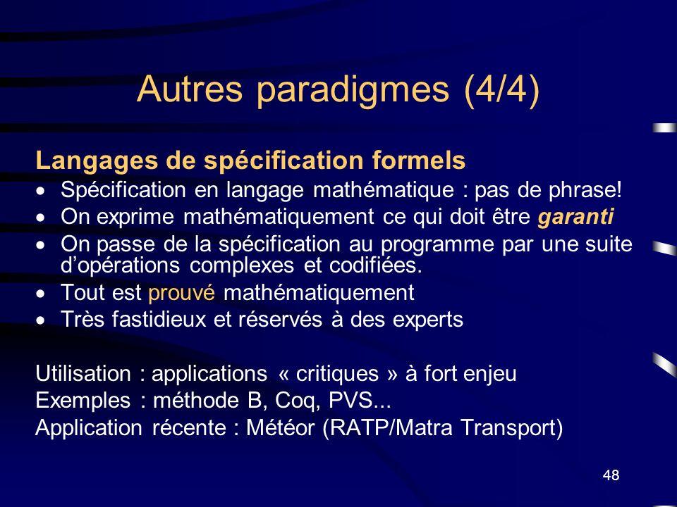 Autres paradigmes (4/4) Langages de spécification formels