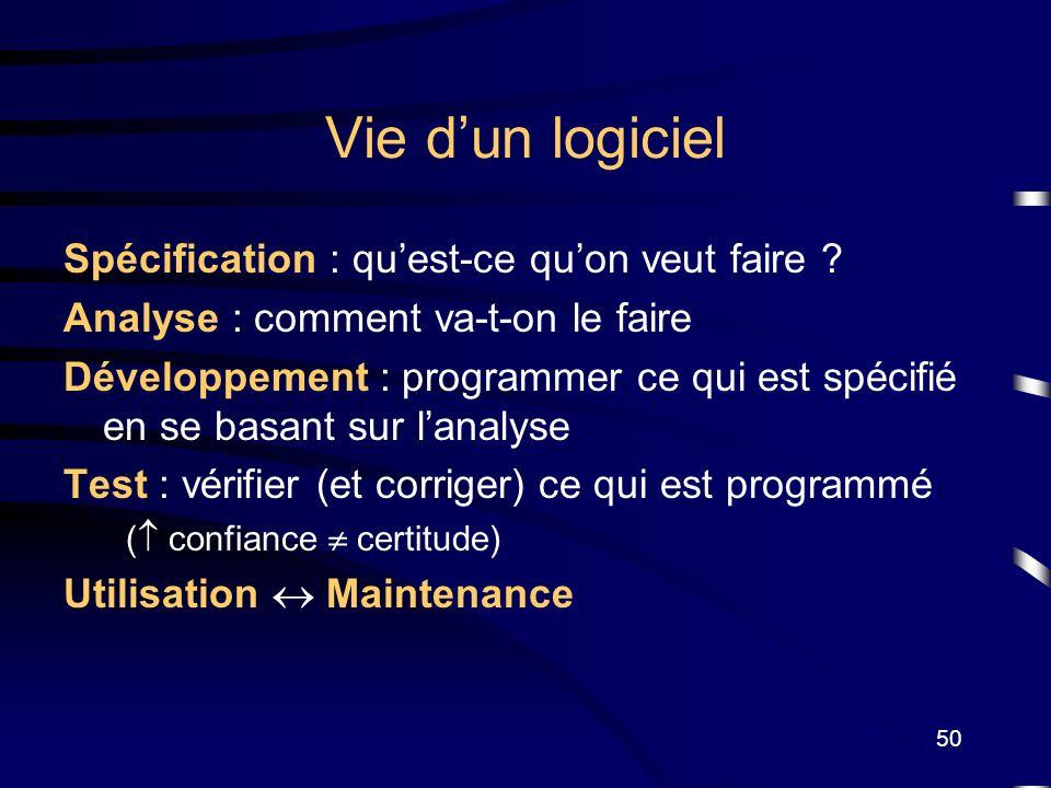 Vie d'un logiciel Spécification : qu'est-ce qu'on veut faire